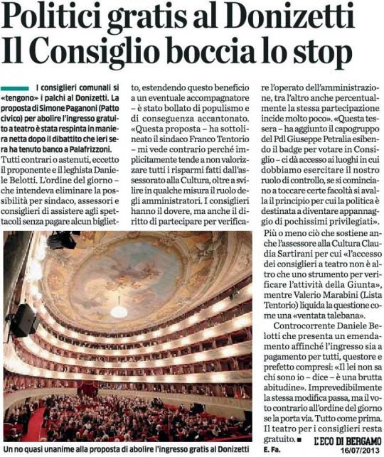 Politici gratis al Donizetti ??