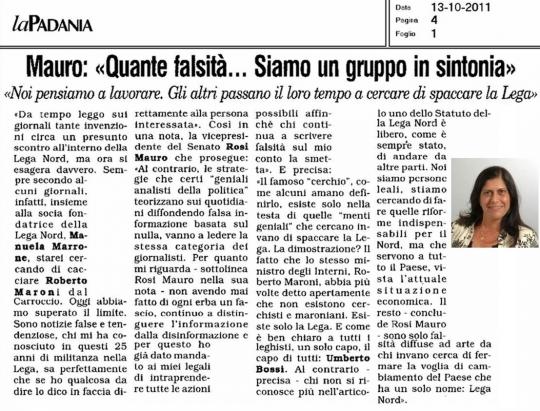 la padania 13 ottobre 2011 Intervista a Rosi Mauro1.jpg